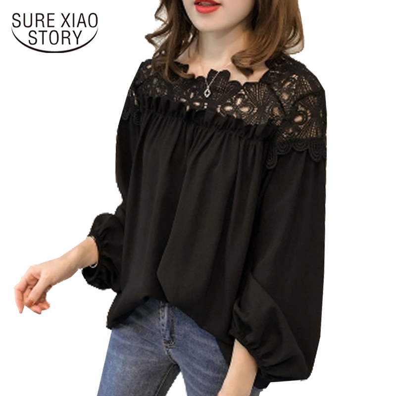 2018 new hooked hollow lace stitching women   blouse     shirt   long-sleeved casual women's clothing plus size women tops blusas D84 30