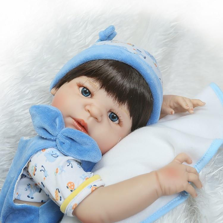 Full body silicone reborn babies doll toys lifeile 22inch newborn boy baby...