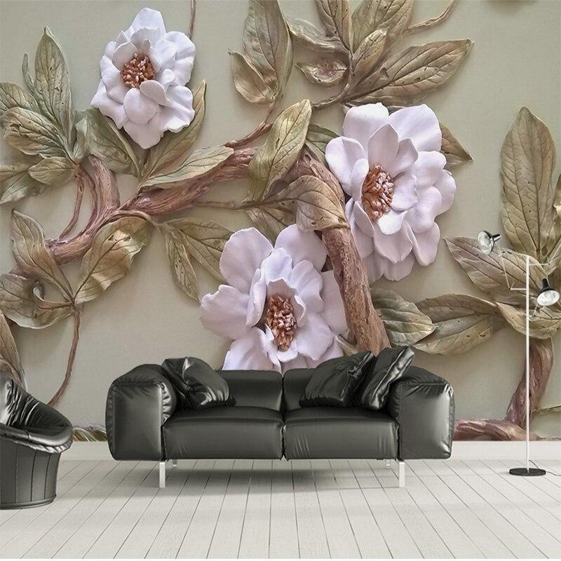 Настроить любой размер 3D обои росписи стереоскопического рельефа Цветок Дерево гостиная спальня ТВ фон настенное украшение росписи|Обои|   | АлиЭкспресс