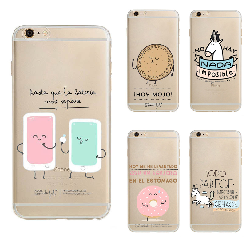 Mr wonderful series Cartoon Transparent cover For iPhone 6 case soft TPU case for iPhone 6 6S 6plus 6splus 5 5s se back cover