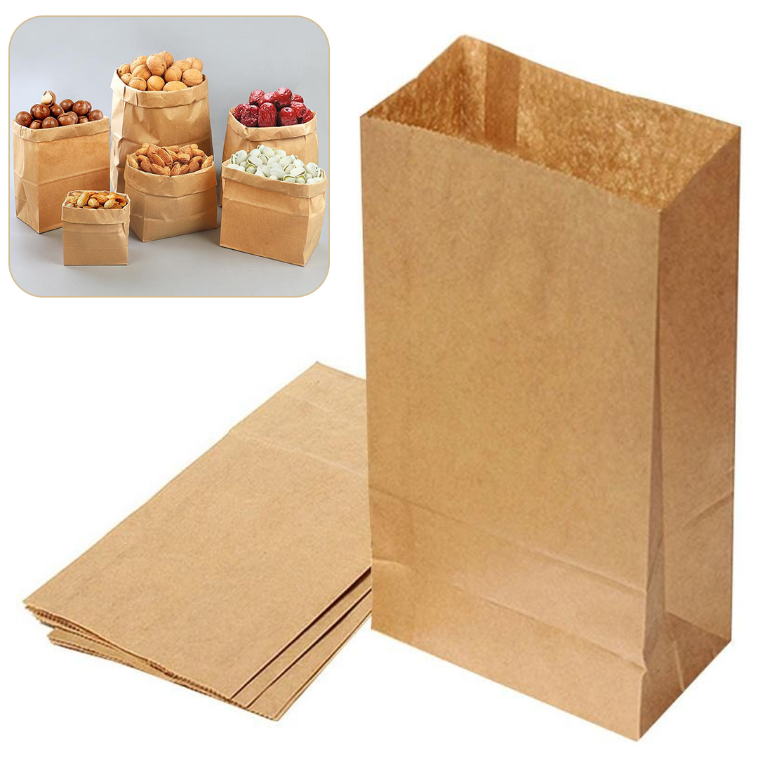 10pcs Brown Kraft Paper Gift Bags Wedding Candy Packaging Recyclable Jewelry Food Bread Shopping Party Bags For Boutique