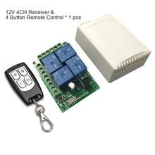 433Mhz Universal Wireless Remote Control Switch DC12V 4CH relay Receiver Module and 5pcs 2 button RF Remote 433 Mhz Transmitter