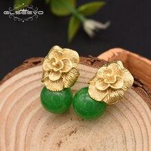 Купить с кэшбэком GLSEEVO 925 Sterling Silver Ear Pin Natural Round Jade Drop Earrings For Women Plant Leaves Wedding Earrings Jewellery GE0336B