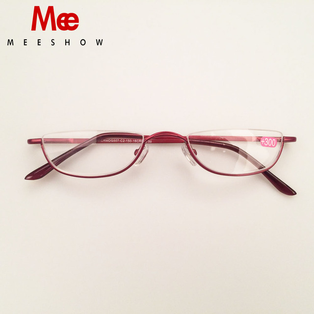 2019 MEESHOW reading glasses Staniless Steel Half Rim Reading Glasses High Quality METAL frame Clear 1.25, 4.0, with case