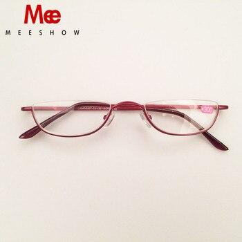 MEESHOW очки для чтения из нержавеющей стали женские очки для чтения половина обода мужские очки с диоптрием + 1,25 + 1,75 + 2,25 + 3,5 + 4,0 >> Meeshow Optician Store