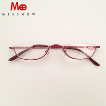 MEESHOW Stainless steel reading glasses woman reading glasses half rim mens glasses with diopter +1.25 +1.75 +2.25 +3.5 +4.0