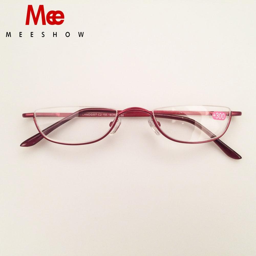 Meeshow aço inoxidável óculos de leitura mulher presbiopia metade aro homem óculos de lectura mujer + 1.25 1.75 2.25 3.5 340