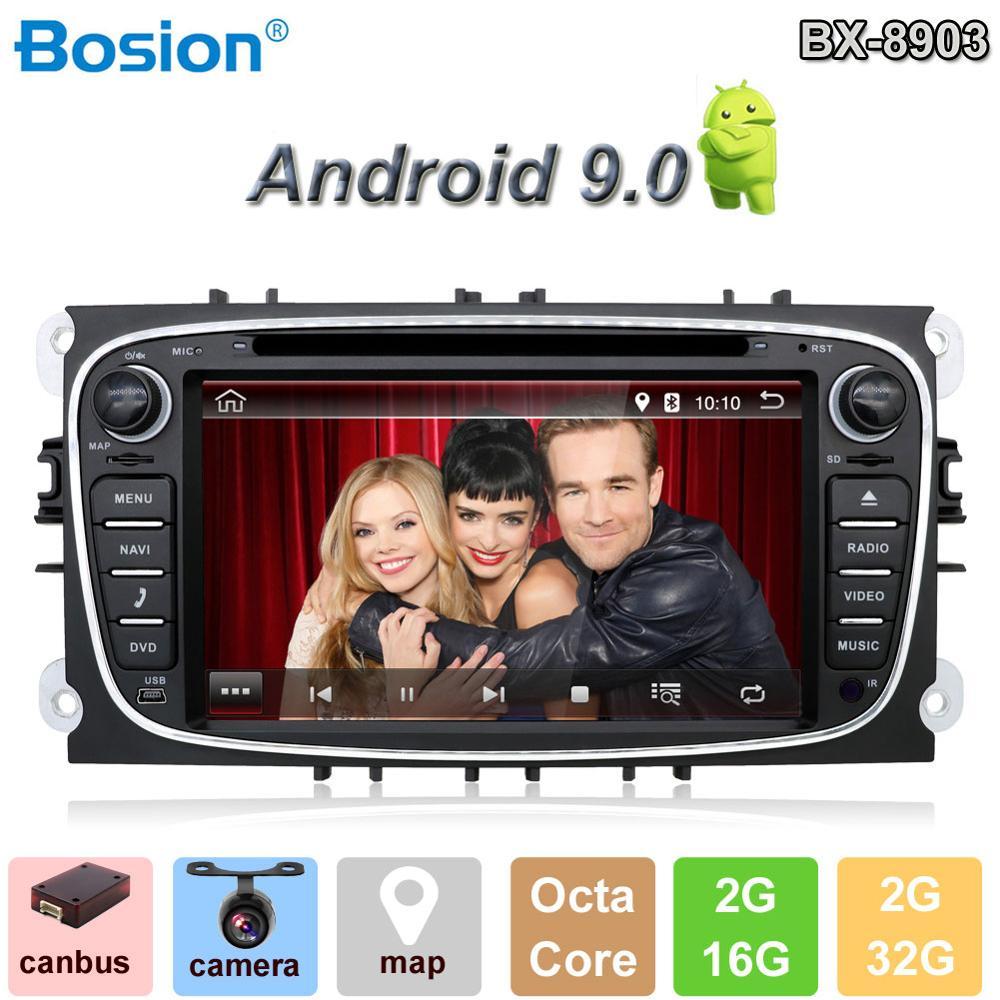 Bosion 2 din Android 9.0 dvd do carro para ford fucus mondeo s-max ligar rádio do carro HD car multimedia jogador GPS Navi com câmera