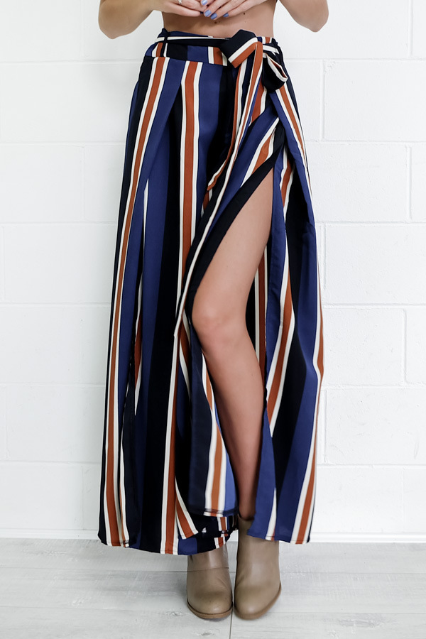 Wide Leg Pants Drawstring Women Elastic High Waist Striped Casual Cotton Pants Navy Blue Summer Women Clothing P56962