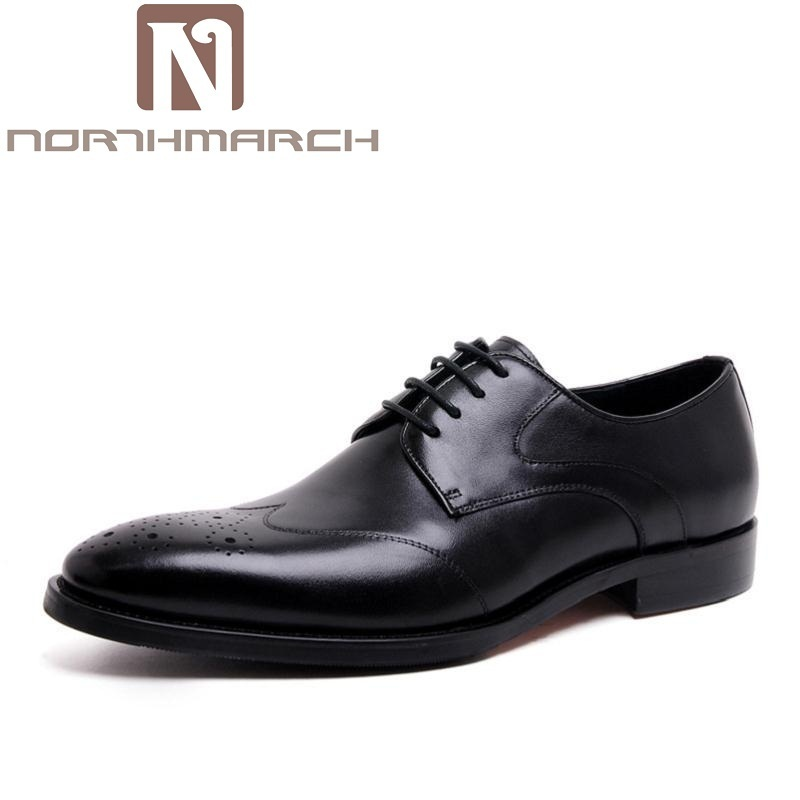 NORTHMARCH Luxury Genuine Leather Lace Up Men Dress Shoes Formal Party Office Brown Derby Man Shoe Rubber Zapatos De Hombres недорого