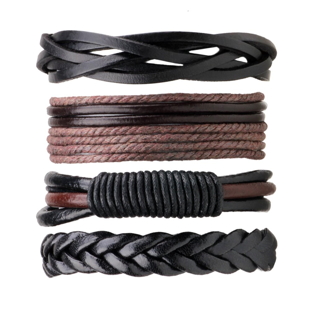 4PCS/PACK Punk Style Vintage Handmade PU Leather Braided DIY Men Black Brown Casual Bracelets Fashion Jewelry Accessories