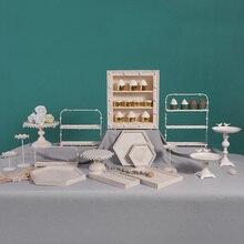 Juego de platos de pastel de madera Vintage Color marfil postre para fiesta de boda Mesa decoración de cupcakes pan bandeja para exhibición de comida