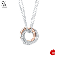 SA SILVERAGE Fine Jewelry 925 Silver Maxi Chokers Necklace Sterling Long Necklaces Pendants for Women Rose Gold Color