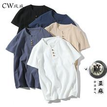 CW 2018 New Summer Style Mens Short Sleeve Cotton Linen T shirt Tee Shirts Short Sleeve