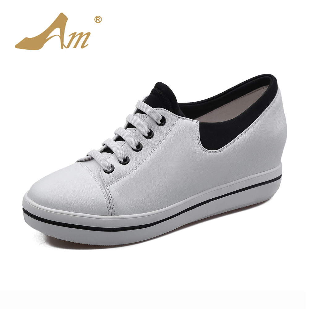 Ame Spring new genuine cow leather loafers casual wedges pumps student s brand shoes for women