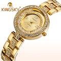 Kingsky Marca de Luxo relógios de Pulso Das Mulheres Relógios de Quartzo Das Senhoras Das Mulheres Ouro Prata Strass Relógio Reloj Mujer Relógio de Diamante Falso