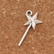 Star Magic Wand Charm Beads 60pcs Antique Silver Cute Pendants 12.7x25.6mm Jewelry DIY L292