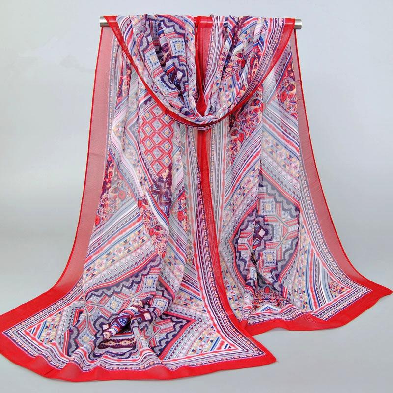 Bohemia Style Luxury Brand Chiffon Silk   Scarf   Echarpe Foulard Femme Muslim Hijab Geometry Shawls   Scarves     Wraps   Bandana
