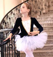 100 150cm Embroidery Girl Ballet Dress Long Sleeve Leotard Tutu Skirt Children Competition Dance Wear Navy Pink Free Shipping