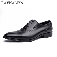 New 2018 Mens Dress Shoes Genuine Leather Luxury Italian Retro 100 Handmade Men Oxfords Luxury Brand