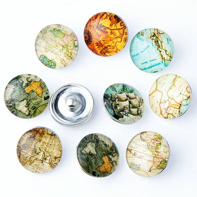 Hot 20PCS/Lot High Qlity 18MM Map Metal snap buttons Mixed Styles DIY Snaps Charms Jewelry Fit Snap Bracelet&Bangle S71