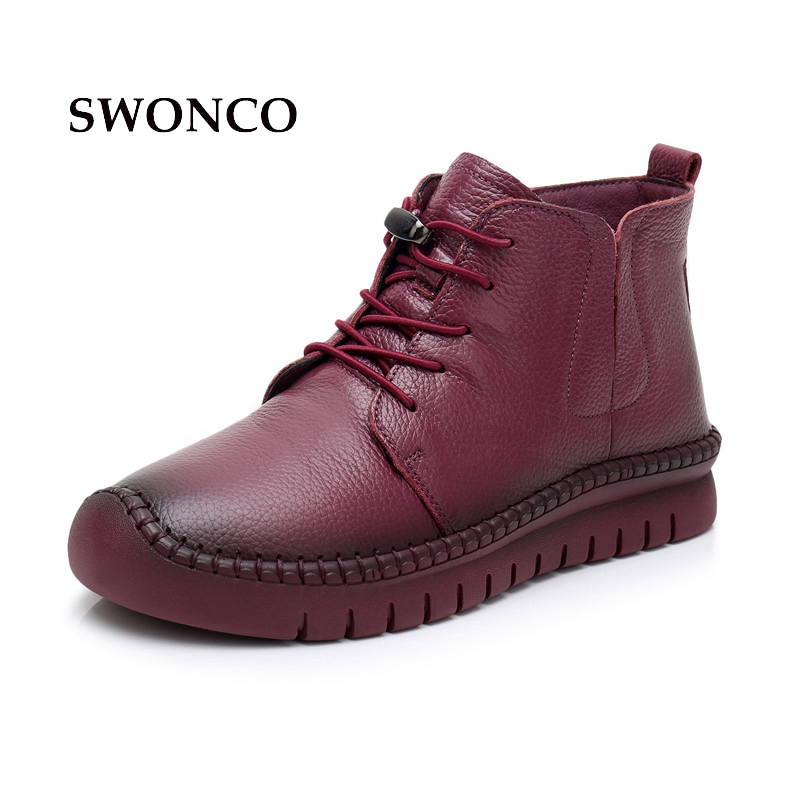 SWONCO 2018 Women Winter Boots Cow Leather Warm Plush Mother Shoes Black Ankle Boots For Women Fur Non-slip Handmade Woman Boot стоимость
