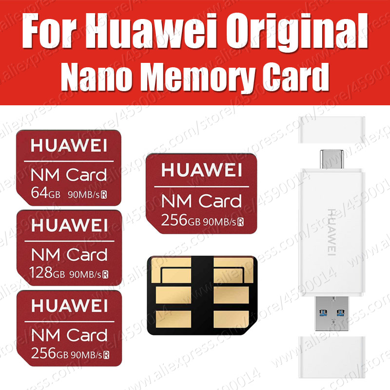 90MB/s Original Huawei NM Card Nano 64GB/128GB/256GB Apply to Huawei P30 Pro Mate20 Pro Mate20 X With USB3.1 Gen 1 Card Reader standard schnauzer