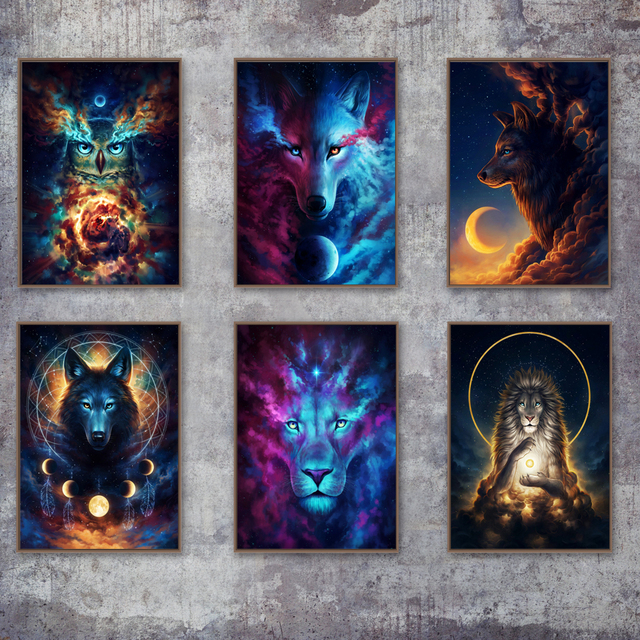 Surreal Fantasy Wolf Moon Deer Owl Lion Wall Art Canvas Painting Nordic Posters And Prints Wall Pictures For Living Room Decor