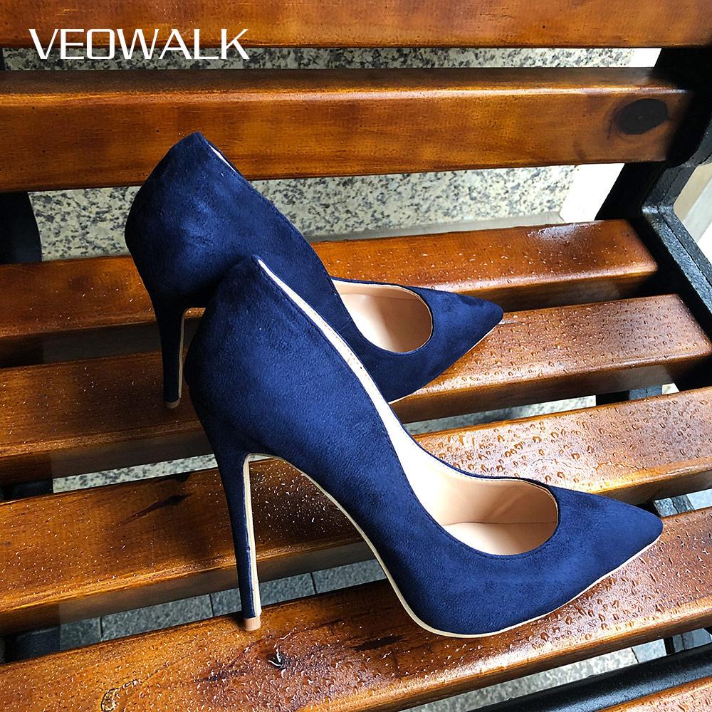Veowalk Navy Blue Women Synthetic Suede High Heels Pointed Toe Slip on OL Ladies Stiletto Pumps 8 10 12cm Fashion Wedding Shoes