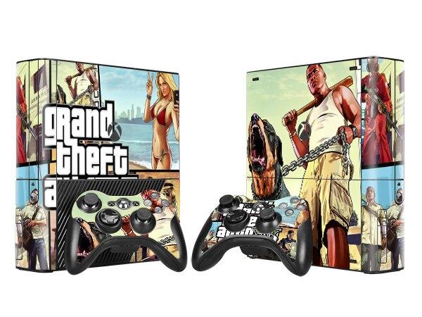 Cool GTA V Vinyl Skin Sticker Protector for Microsoft Xbox 360 E and 2 Controller Skins Stickers for XBOX360 SLIM E