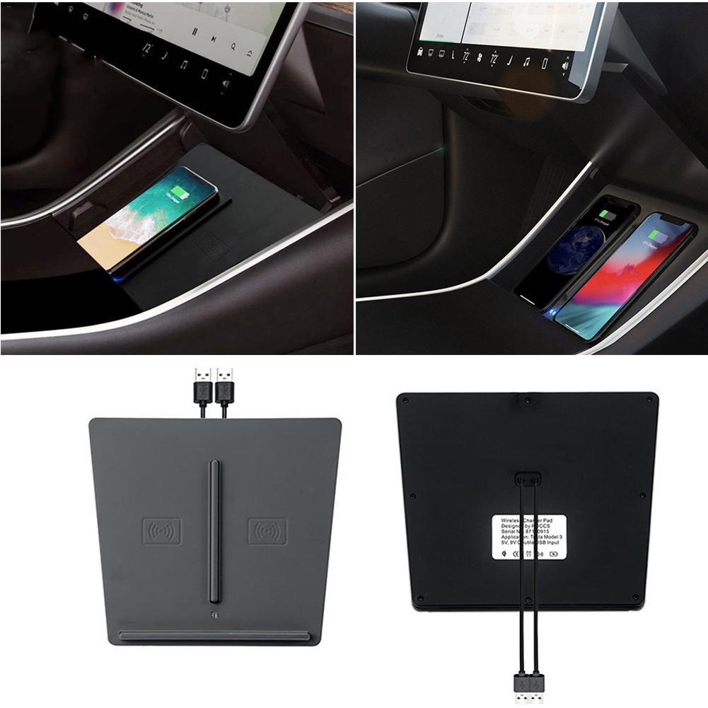 Nouveau Style USB Port Console centrale chargeur sans fil intérieur amélioré montage rapide double téléphones charge pour Tesla modèle 3