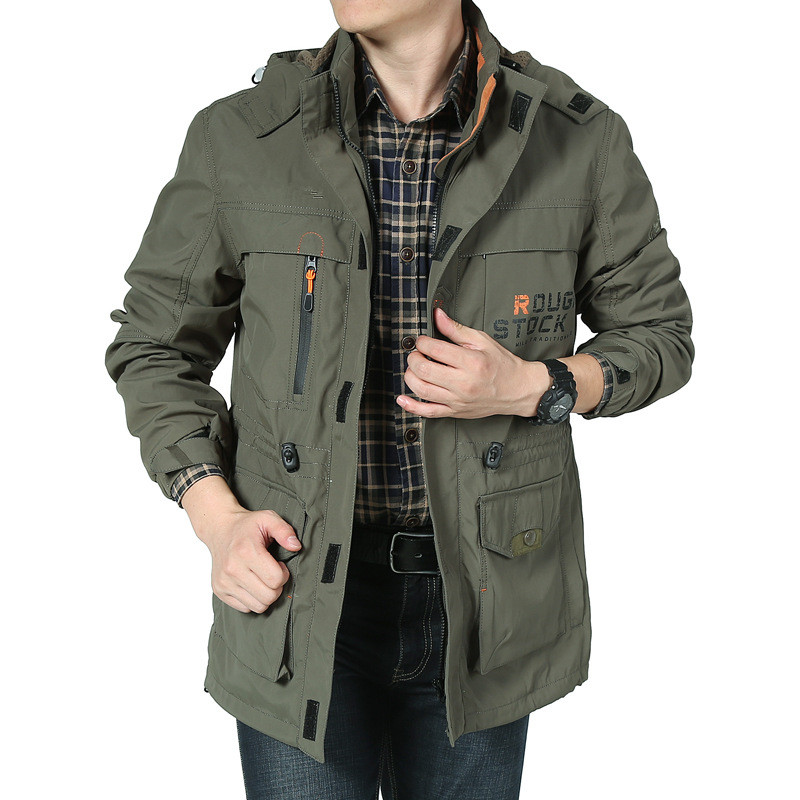 Spring Autumn Men's Bomber Casual Jacket Army Military Waterproof Windbreaker Jacket Multi pocket Tactical Jacket Hooded Coat-in Jackets from Men's Clothing