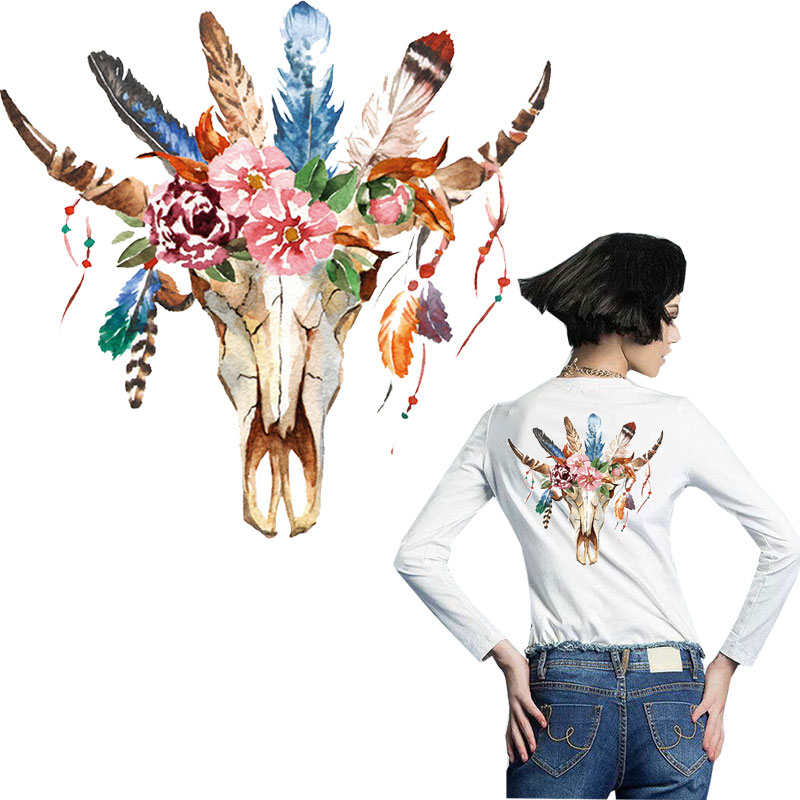 flower cow ox style sticker patches for clothing iron on transfer T-shirt jeans diy accessory patch thermocollants vetement