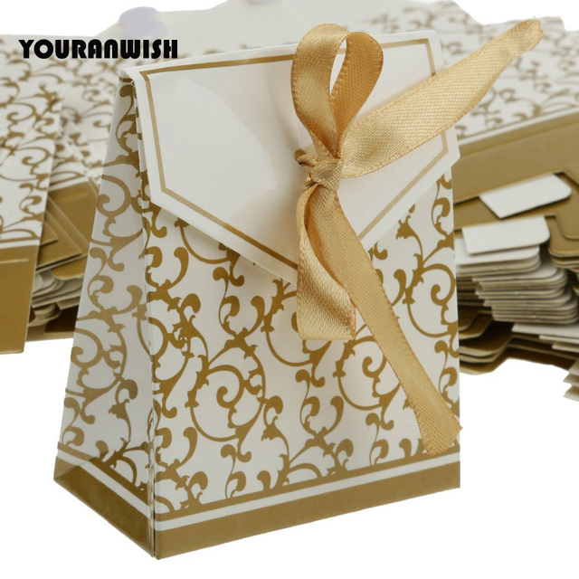 Gold Baby Shower Favors Gifts Bag Creative Wedding Favor Boxes Candy