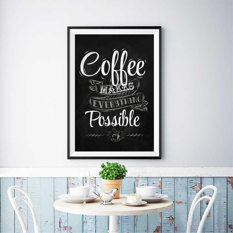 Coffee Funny Quote Print Cafe Wall Art Retro Poster Decor , Chalk Blackboard Style Art Canvas ...