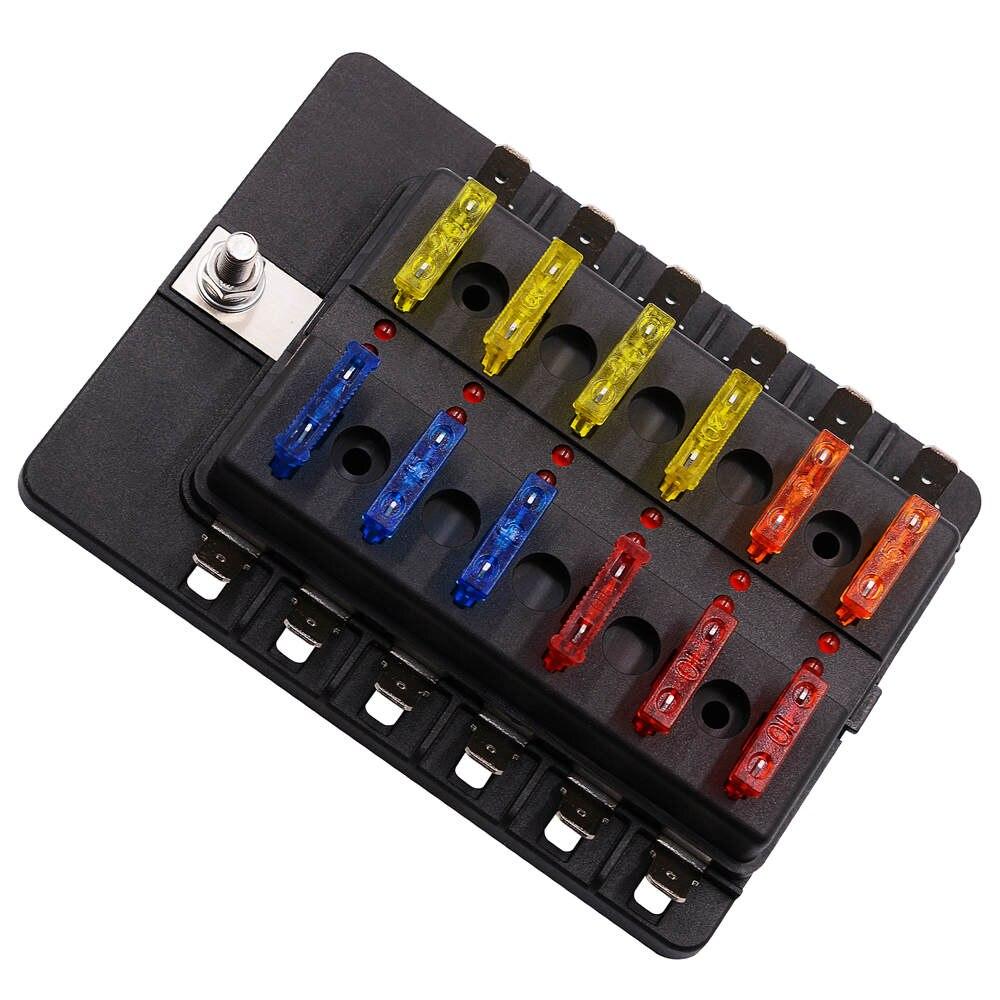 Hot Sale 12 Way Blade Fuse Box Holder With Led Warning Light Kit For Car Boat Marine Trike 12v 24v
