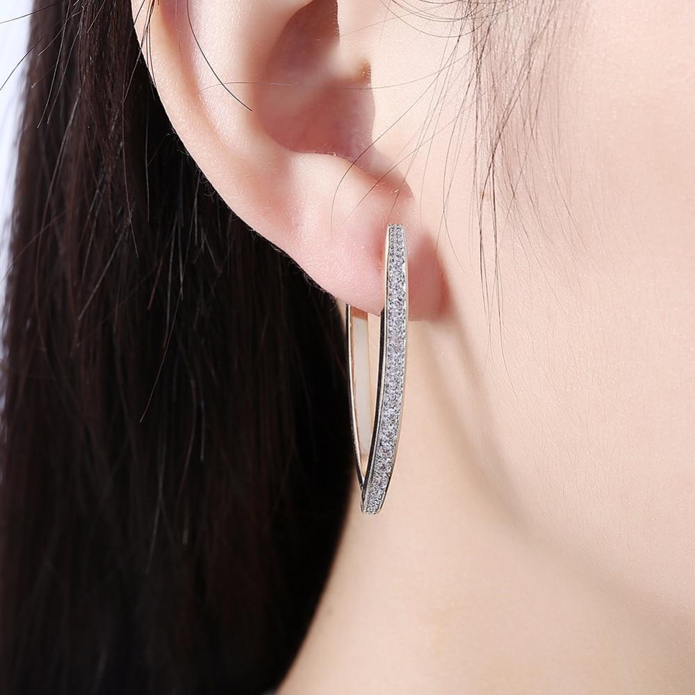 Visisap V Shape Shining Cubic Zirconia Hoop Øreringe For Kvinder - Mode smykker - Foto 2