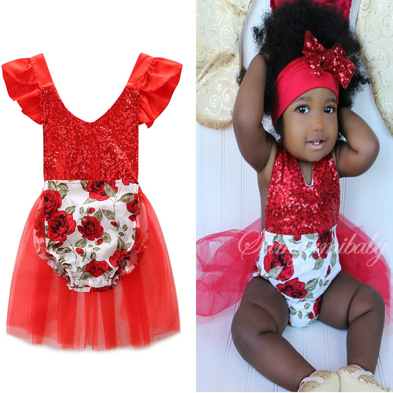 New Girls V-neck cotton red lace sequins rompers fashion top quality birthday present summer infant overall jumpers 17A801