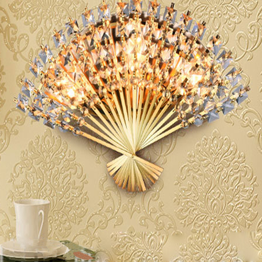 New fan shaped crystal lamp LED wall lamp European luxury bedroom ...