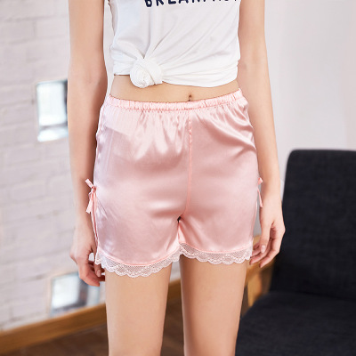 Hot Ladies Shorts Multi Color Elastic Waist Lace Up Loose Shorts Mid Waist Bow Tie Silk Sexy Shorts Casual Underwear Sleepwear ...