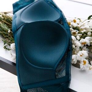 Image 5 - TERMEZY セクシーなレースのハーフカップ女性のためのセットワイヤレス通気性下着プッシュアップブラセクシーなブラジャーとパンティセット白ランジェリー