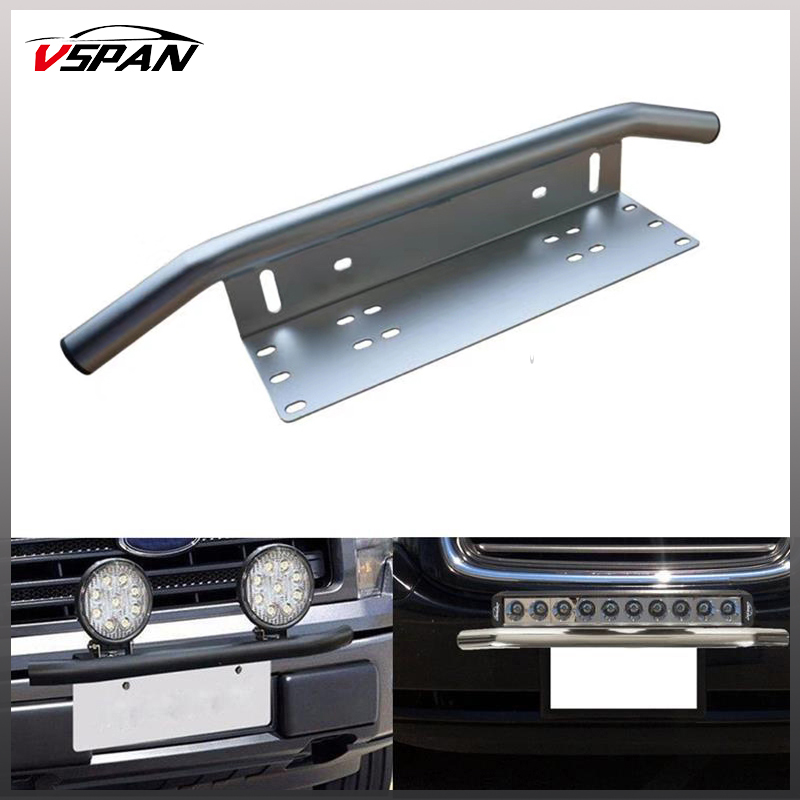 Offroad Silver/black License Plate Mounting Bracket Front Bull Bar Bumper Holder License for LED work Light Bar 4x4 accessories 1pc car front bumper license plate mount bracket holder for led light bar led work lights off road led lights