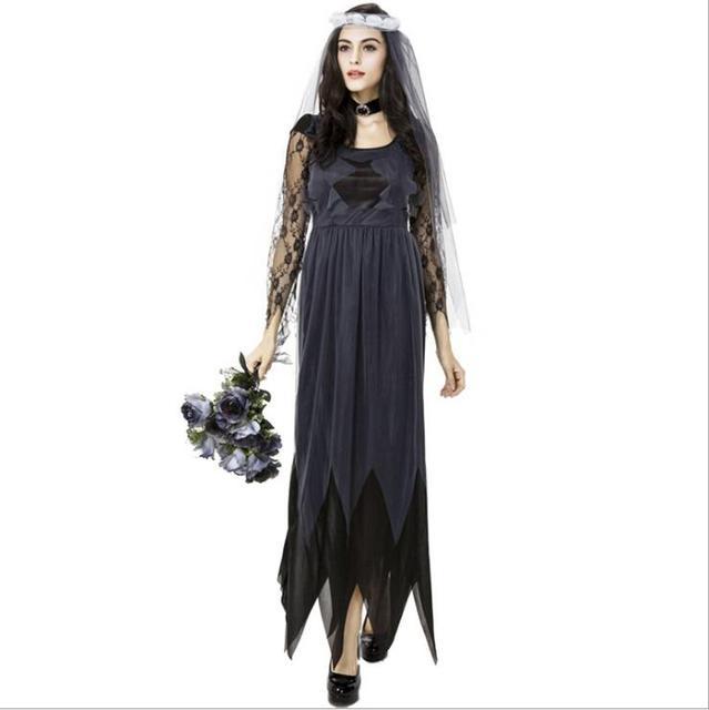 ff04f5497e86 Halloween Zombie Costume Sposa Fantasma Sposa Cadavere Vestito per le Donne  di Età M-2XL