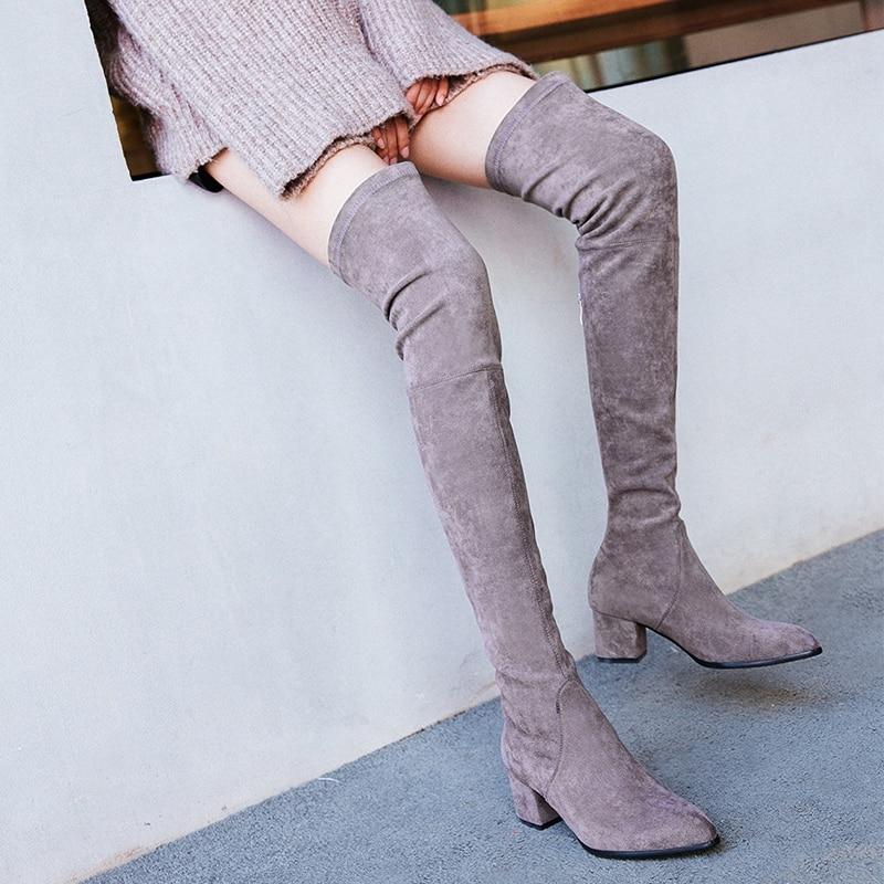 Punta De 2019 Zapatos Nuevas Rodilla Para Altas Mujeres La Redonda Cuero Mujer Invierno Genuino Negro Las Moda Encima Por Botas Señoras q44Tgtr
