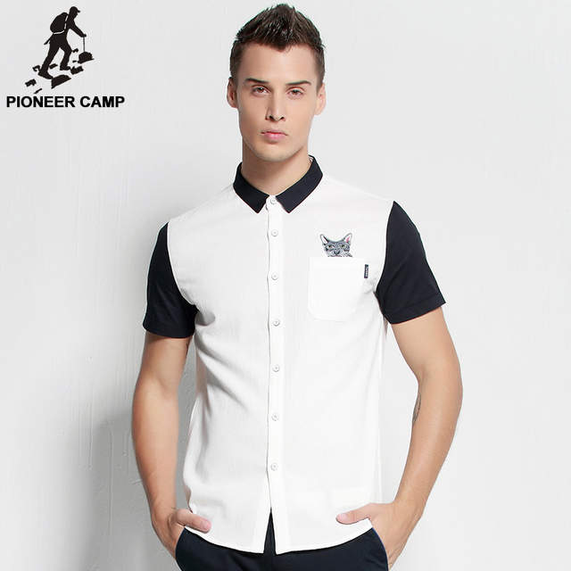 Pioneer Camp.Free shipping!2017 new fashion mens shirt casual summer style short sleeve 100%cotton mens shirt business slim fit
