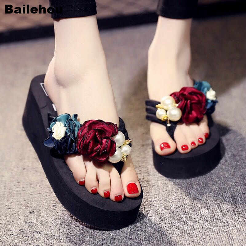 Bailehou Flower Decoration Women Wedge Slippers Med Heel Slides Beach Flip Flops Slip On Female Slipper Casual Shoes