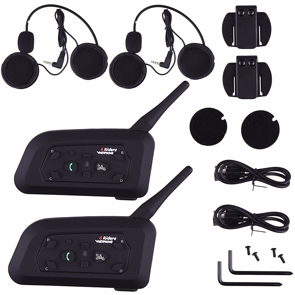 2017 2pcs V6 Pro Intercom EU Motorcycle Helmet Bluetooth Headset Wireless 1200M BT Interphone for 6 Riders Motorbike 2pcs bt s2 intercom 1000m motorcycle helmet bluetooth wireless waterproof headset intercom earphone 2 riders interphone fm radio