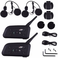 2018 2PCS V6 Pro Intercom EU Motorcycle Helmet Bluetooth Headset Wireless 1200M BT Interphone For 6