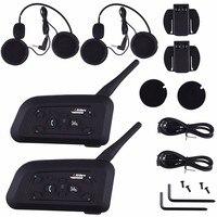 2018 2PCS V6 Pro Intercom EU Motorcycle Helmet Bluetooth Headset Wireless 1200M BT Interphone For 6