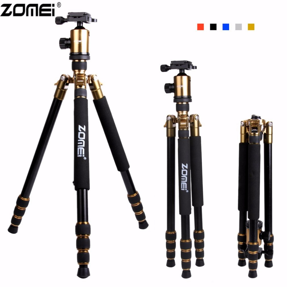 Zomei Z888 Professional Aluminium Alloy Tripod Kit Monopod Quick-Release Plate For DSLR Camera 5 Colors Optional Light Compact zomei z888 portable professional aluminium alloy travel tripod monopod z818 for slr dslr digital camera five colors available